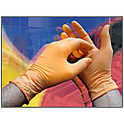 "Nitrile Powder-Free Exam Gloves, NPX Series, Orange, 5 mil, 10"" length, Boxed"